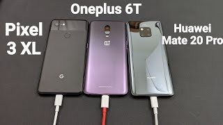 30 Minutes Fast Charging Speed Test Challenge - Pixel 3XL Vs Oneplus 6T Vs Huawei Mate 20 Pro