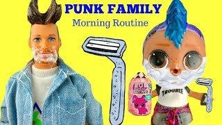 LOL Surprise Punk Boi's Family Morning Shaving Routine with Makeover