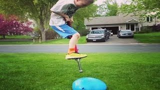 Pogo Stick vs. HUGE Water Balloon | StewarTV