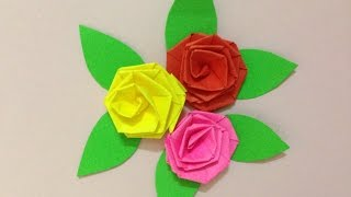 How to make small rose paper flower | Origami flowers for beginners  | Easy crepe paper tutorial