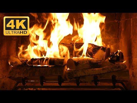 Birchwood Crackling Fireplace (4K Ultra HD)