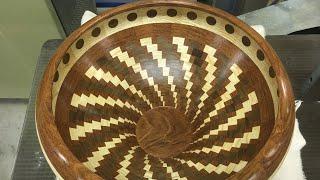 Segmented Ash, Jatoba and Walnut Bowl | Segment Skål #21 | Woodturning