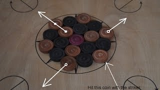 How to arrange carrom board coins for the opening shot