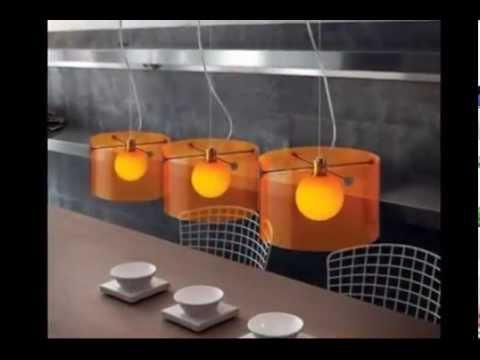 Длинные люстры на кухне