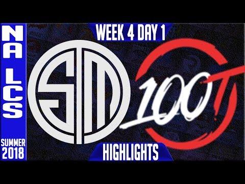 TSM vs 100 HIGHLIGHTS   NA LCS Summer 2018 Week 4 Day 1   Team Solomid vs 100 Thieves