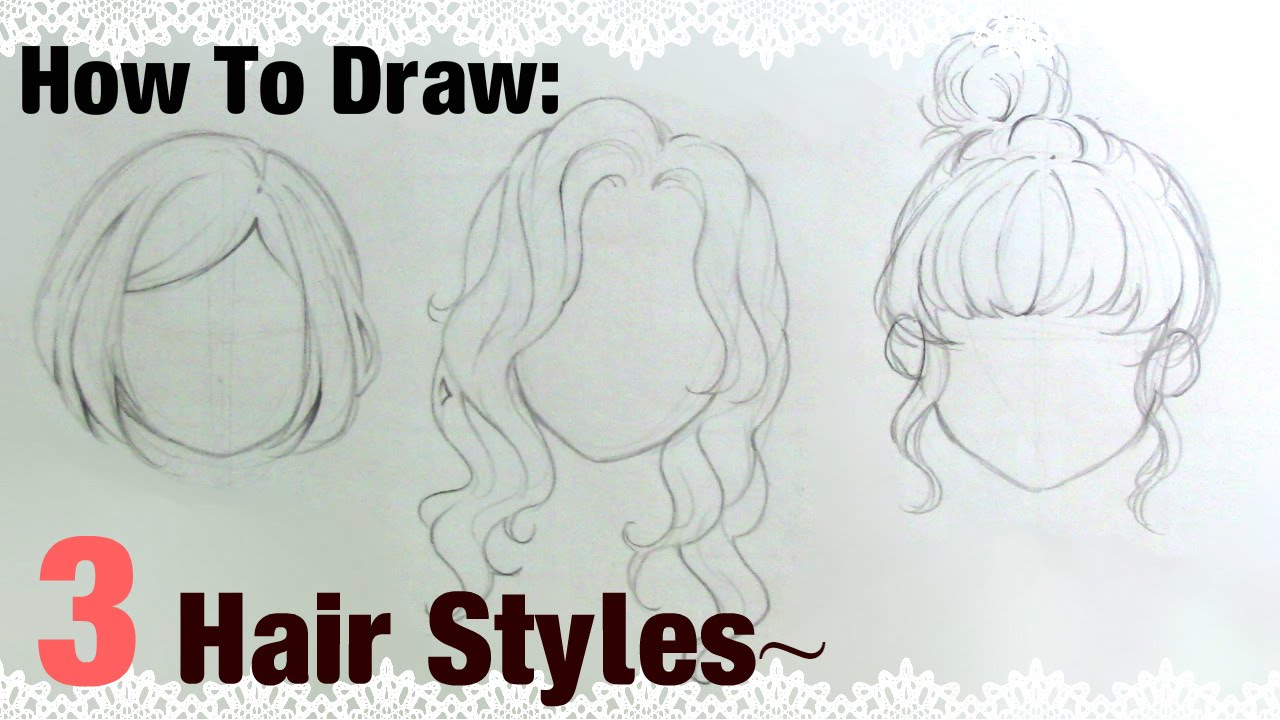 How to draw girls hair step by step