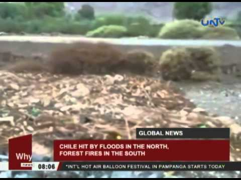 Chile hit by floods in the north, forest fires in the south