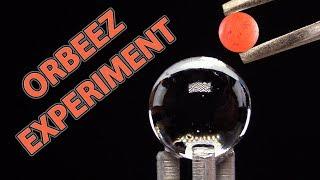 EXPERIMENT GLOWING 1000 DEGREE MINI METAL BALL VS ORBEEZ | SATISFYING VIDEO