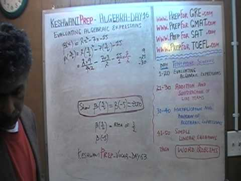 Algebra Help Day 16 - Math Tutor - GRE, GMAT, SAT Prep - Online via Skype KeshwaniPrep.com