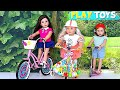Baby Doll Bike Toy - Play American Girl Dolls Birthday Surprise toy & Baby Doll Ice Cream Shop toys