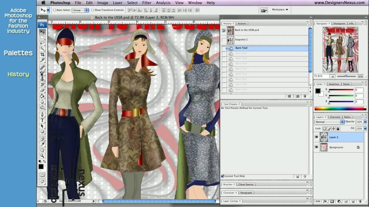 Photoshop Tutorial For Fashion Design 22 24 History