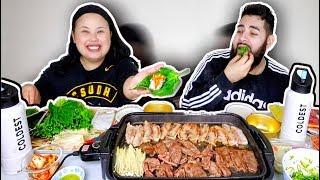 KOREAN BBQ AT HOME + PORK BELLY WRAPS MUKBANG 먹방 EATING SHOW!