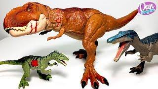 AWESOME BATTLE DAMAGE T-REX & MONOLOPHOSAURUS! Jurassic World Fallen Kingdom Toys for Kids!