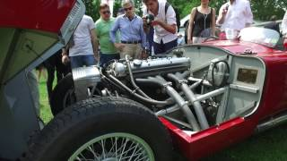 Jaguar C-Type 1952 in beautiful red, exhaust sound and walkaround