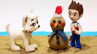 Sand Snowman Paw Patrol 💕 Superhero Play Doh Stop motion videos for kids
