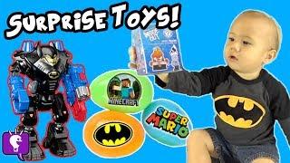 ROBO BATCAVE Surprise Toy Eggs + Blind Bags HobbyKidsTV