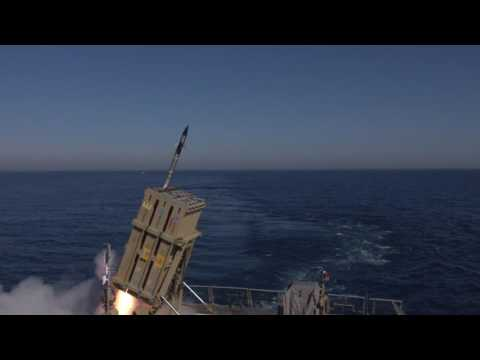 Iron Dome interception from a Navy Vessel