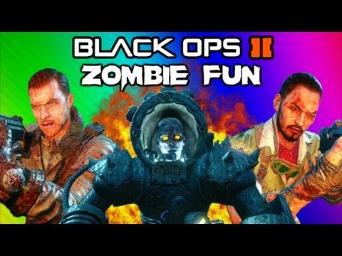 Black Ops 2 Origins Zombies Funny Moments - Robots. Shield. Secret Portal. Tank. Drone Quadrotor