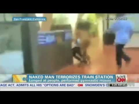 Nude Man Attacks People At Train Station video