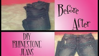 DIY Let's Bling out Some Jeans Rhinestone Style