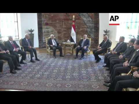 Palestinian President Mahmoud Abbas meets Egypt's interim president Adly Mansour