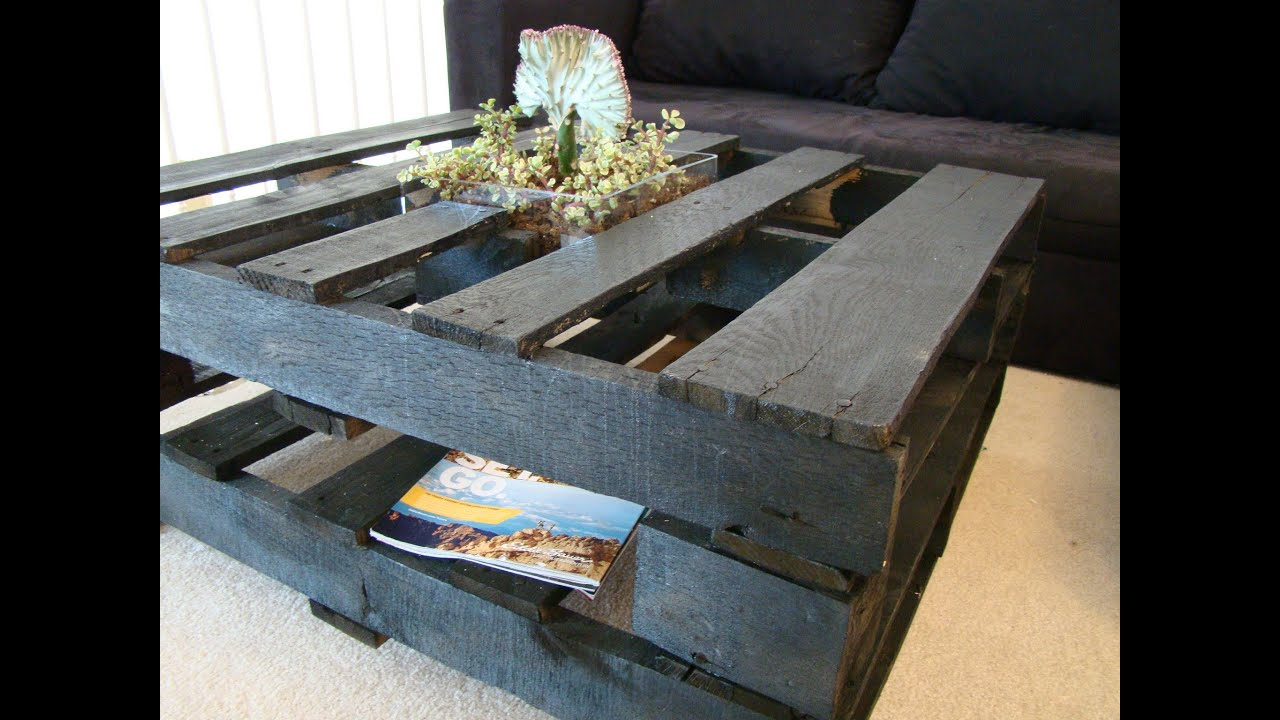 How to make a coffee table out of pallets youtube for Tables made out of pallets