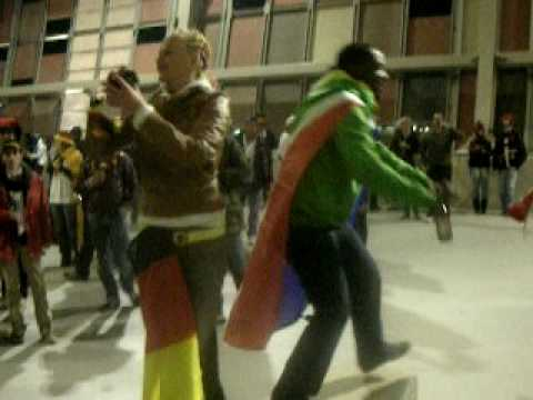 Ghana fans dancing at the Germany game