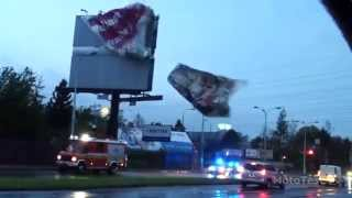 Storm destroyed the banner