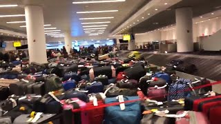 There's a Sea of Suitcases at JFK After Canceled Flights, Water Main Break