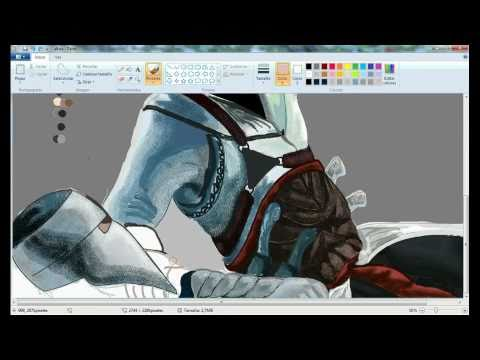 dibujando a altair in paint (assasins creed). drawing altair in ms paint (speed paint)