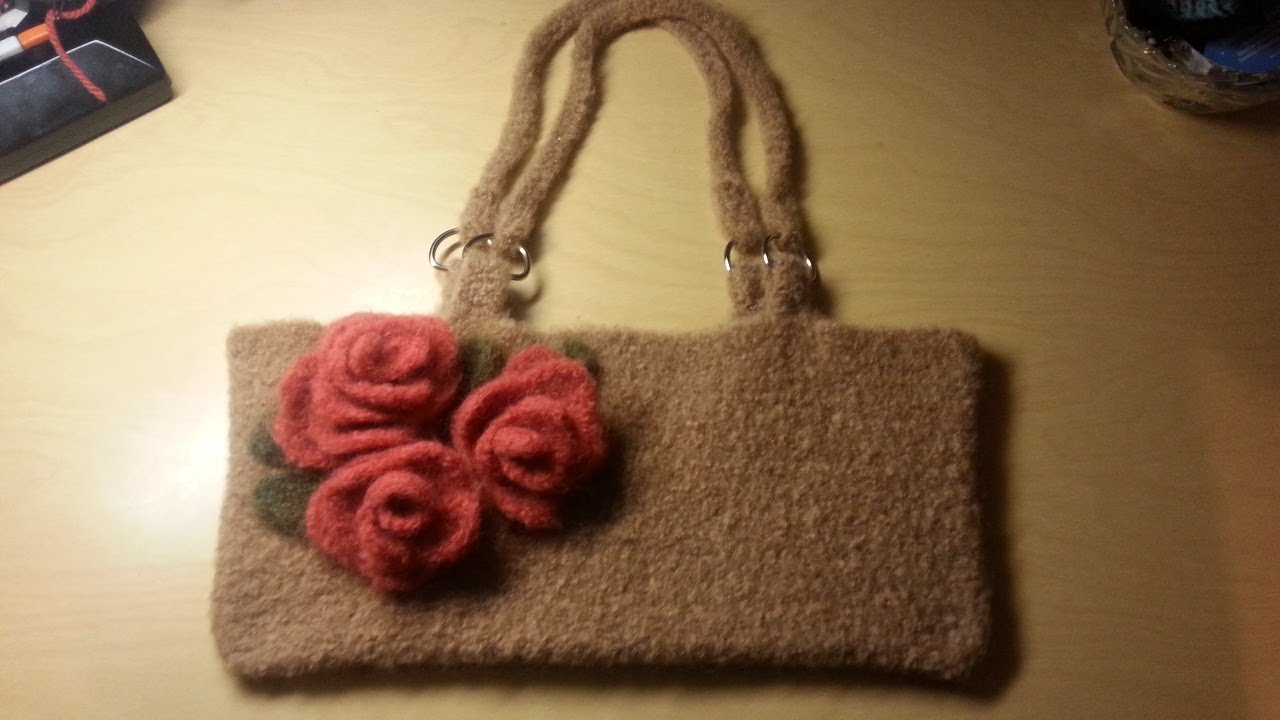 Crochet Bags And Purses Tutorial : Crochet Bag -Felted Crochet handbag Crochet purse TUTORIAL - YouTube
