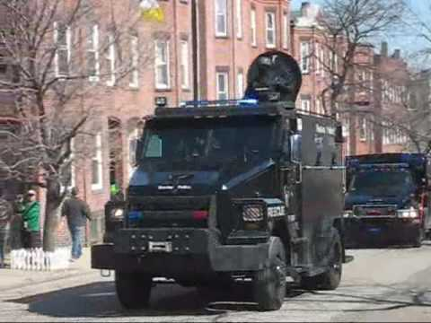 Boston's PD out in Full Force, over 75 police motorcycles and swat trucks!!