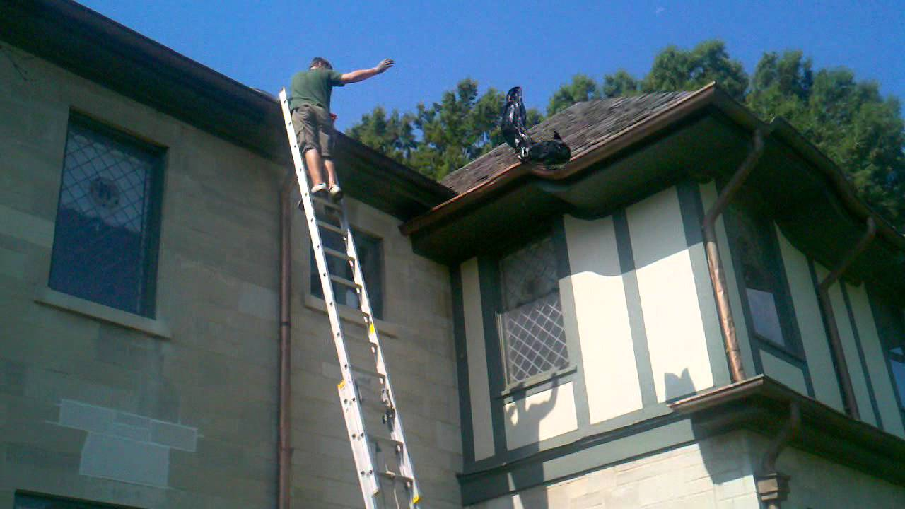 Professional Gutter Cleaning Of High 2nd Story Gutters
