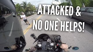 BIKER ATTACKED! Huge guy w/ nipple rings, Motorcycle vs Bad drivers, Miami pt 4 (CLICKBAIT)