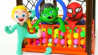 PRINCESS FINDS A LOT OF THINGS IN THE BALL PIT ❤ Superhero Babies Play Doh Cartoons For Kids