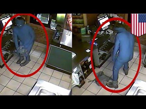 Subway監視器 拍到野生的「藍色小精靈」竊賊