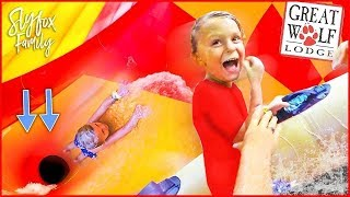 Caspian went on a giant waterslide! At Great Wolf Lodge | Slyfox Family