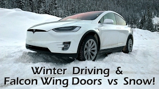 Tesla Model X - Winter Driving & Falcon Wing Doors vs Snow