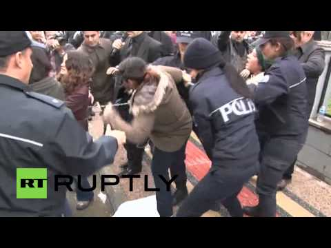 Turkey: Protesters chain themselves and beat officials over youth murder