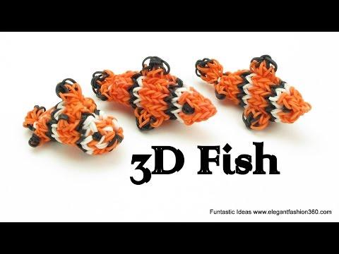 Rainbow Loom Fish/Clown Fish/Finding Nemo 3D Charm - How to