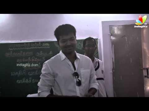 Actor Vijay cast his vote | Election 2014 | Political Speech