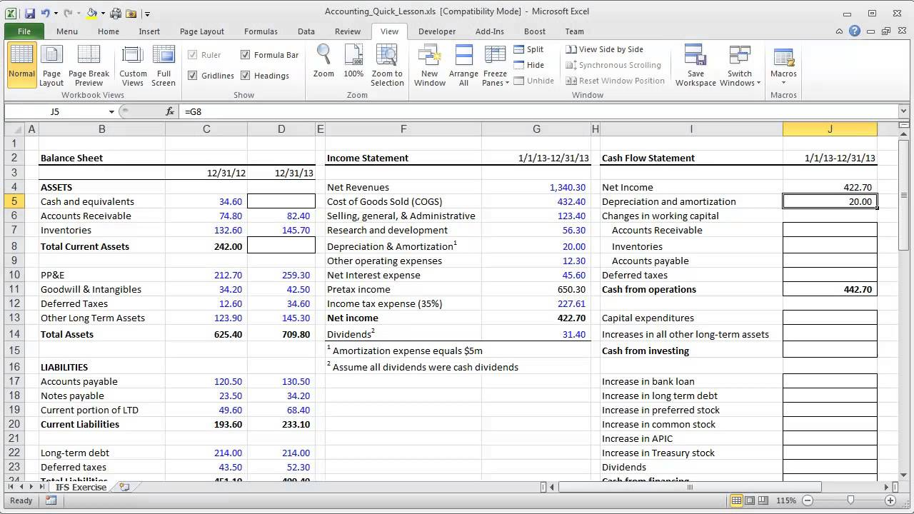 Financial Modeling Quick Lesson Cash Flow Statement Part