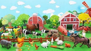 Learn toy farm animals life. Animals story for kids to learn English