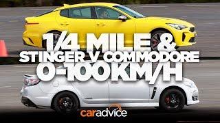 Kia Stinger v Chevrolet SS/Holden Commodore SS-V Redline drag race: 1/4 mile and 0-100