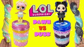 D.I.Y. LOL Surprise Dawn VS Dusk Slime Challenge LOL Confetti Pop Slime