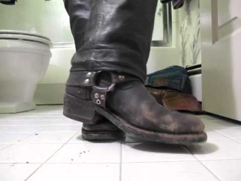 Black Harness Boots And Barefeet video