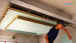 Thi công trần thạch cao phòng khách đẹp #, How to fit a beautiful plaster ceiling