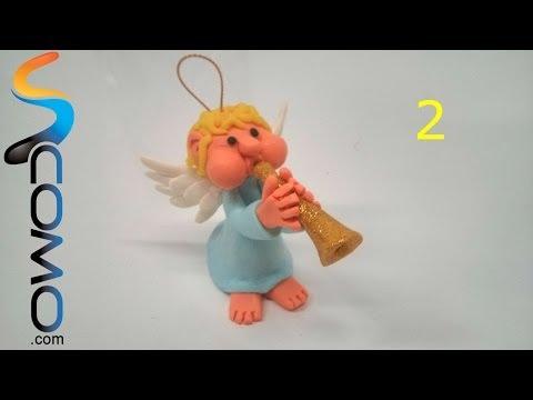 Hacer la cara y manos de un ángel de plastilina para Navidad (2/3)