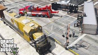 GTA 5 Real Life Mod #179 Heavy Duty Tow Truck Wrecker Flips Semi Truck Trailer Hit By Freight Train