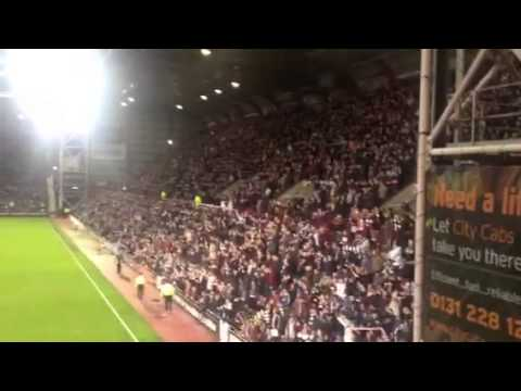 Hearts Fan falls down 10 steps and folds over a gate!!!